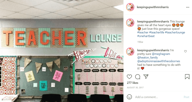 Wall in a teachers lounge with several brightly colored bulletin boards