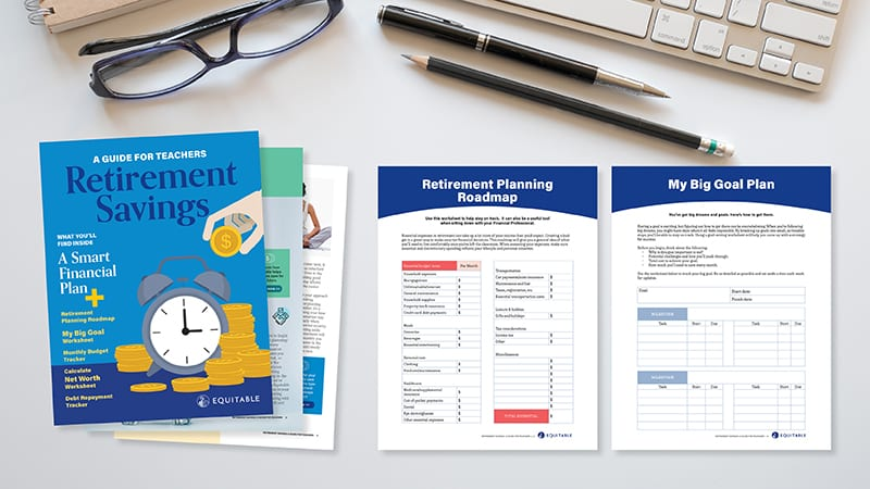 Financial Planning Worksheets on a gray desk with eyeglasses and pens