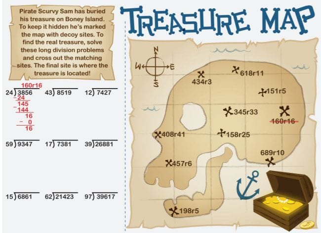 Treasure Map long division game printable worksheet