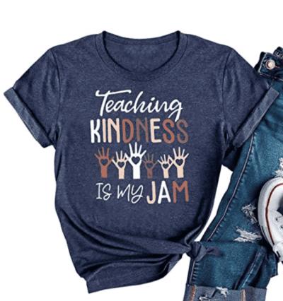 Teaching kindness is my jam teacher t-shirt