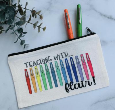 """Cute flair pen pencil case """"teaching with flair"""""""