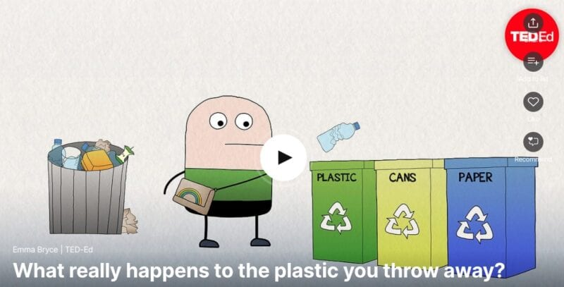 Screenshot from the TED Talk for plastic sustainability