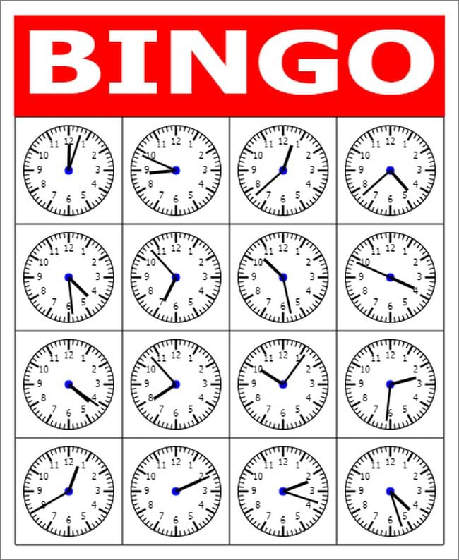 Bingo card with analog clocks set at different times in the squares (Telling Time)