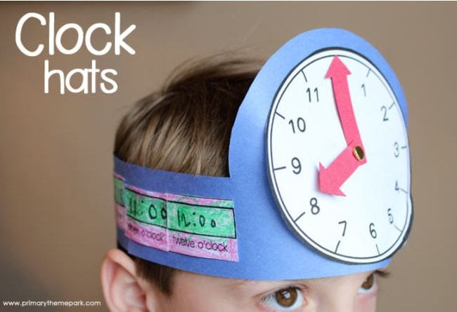 Student wearing a headband with a paper clock attached