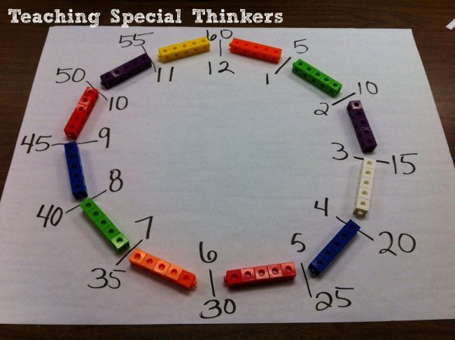 Clock made of a circle of linking math cubes (Telling Time)