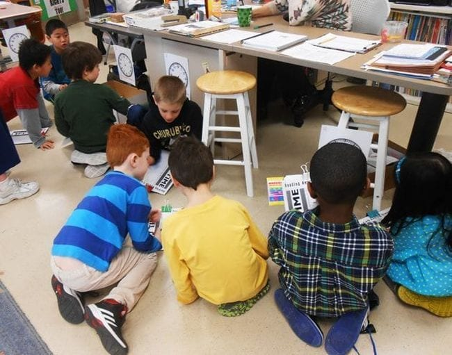 Students using clipboards to write the times showing on paper analog clocks around a classroom