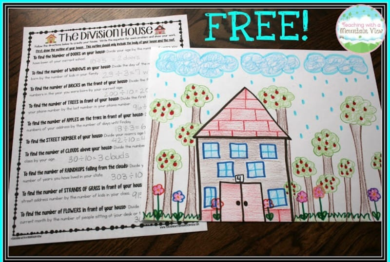 The Division House worksheet with drawing of a house with trees and clouds (Teaching Division)