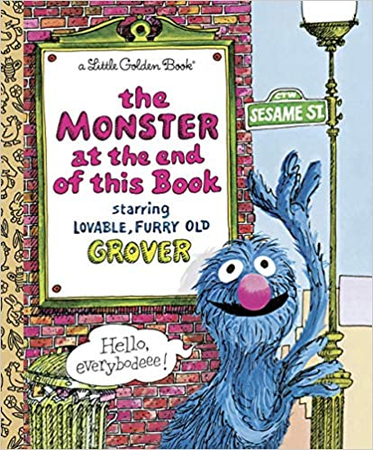 Book cover for The Monster at the End of This Book as an example of kids books about monsters