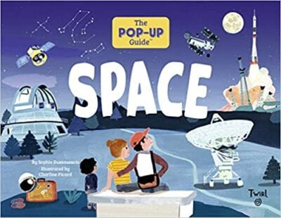 Book cover for The Pop-Up Guide: Space as an example of pop-up books for kids