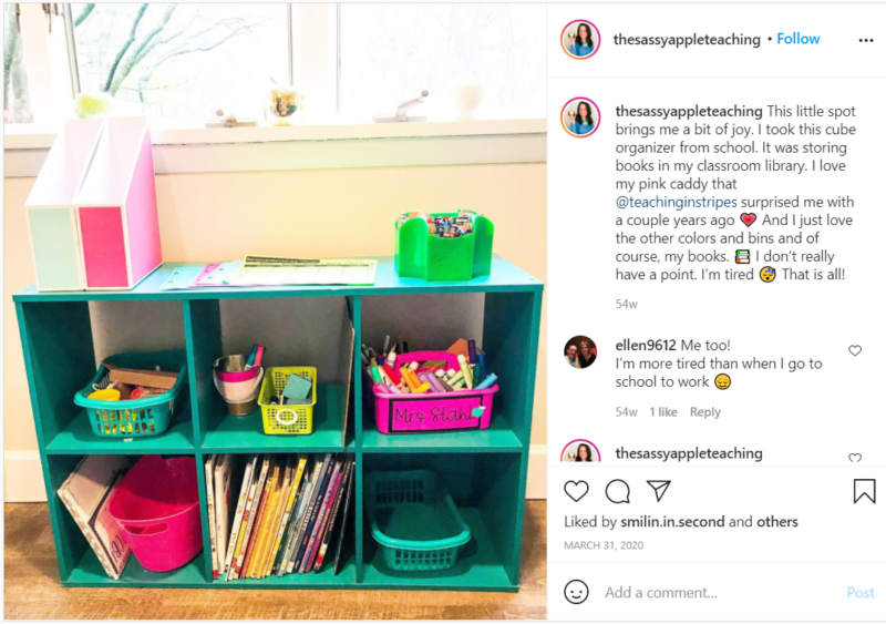 Still of Instagram post from thesassyappleteaching tips for teaching second grade online
