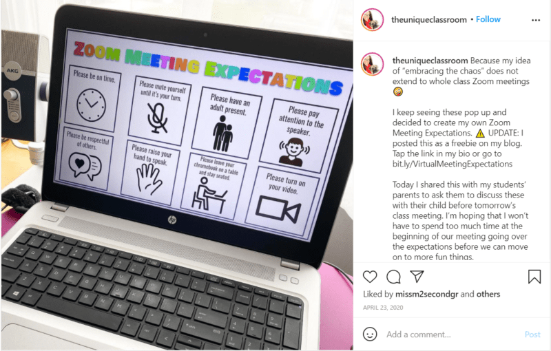 Still of theuniqueclassroom Instagram post tips for teaching second grade online