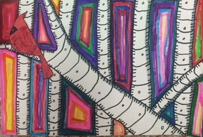 Birch tree branches surrounded by colorful marker lines, accented with a red cardinal