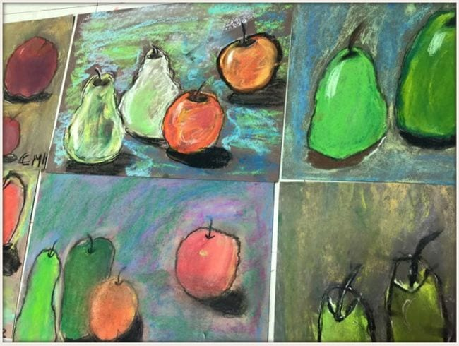 Oil pastel still life pieces of apples and pears in the style of Cezanne