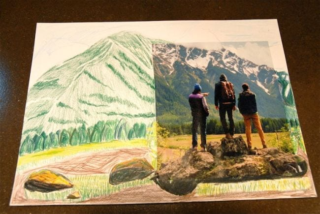 Photo of three people backed by a mountain, with the larger landscape drawn in colored pencil (Third Grade Art Projects)