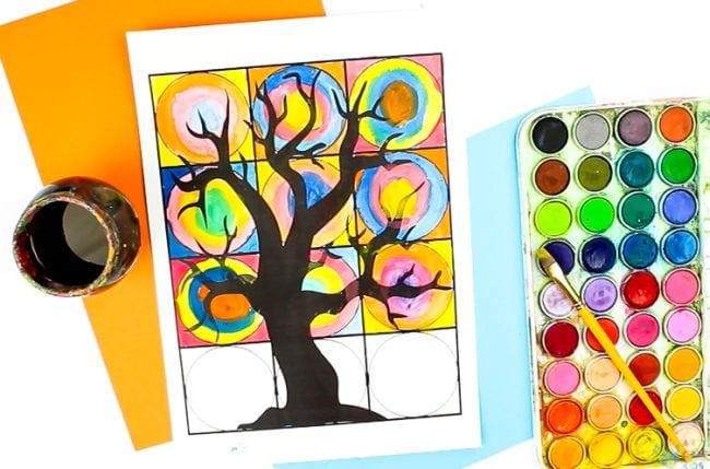 Page divided into squares with a tree outline, with colorful circles painted in the squares (Third Grade Art Projects)