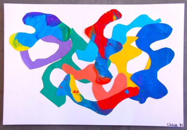 Collage of colorful curved shapes (Third Grade Art Projects)
