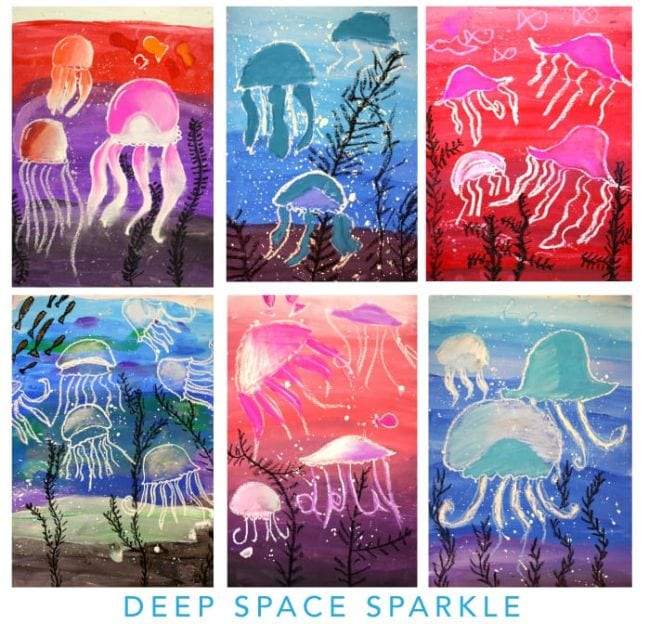 Collage of watercolor resist paintings with pastel chalk jellyfish (Third Grade Art Projects)