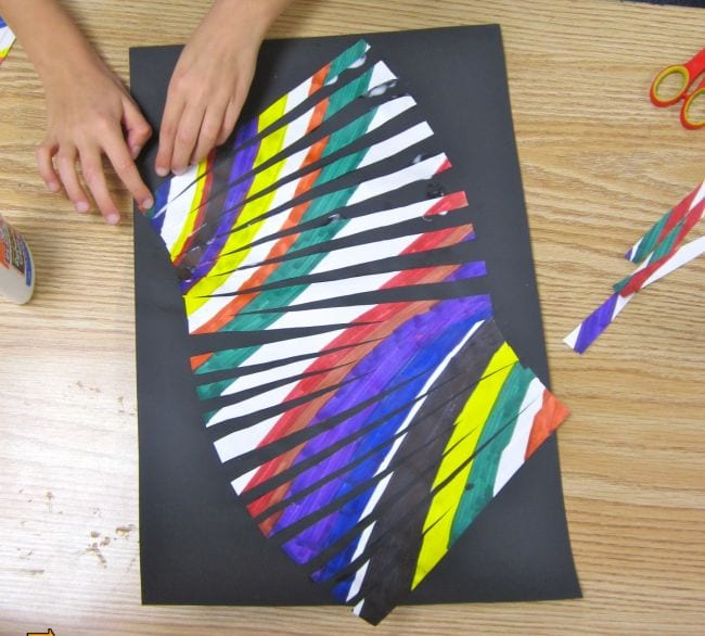 Marker lines cut out into strips, then pasted into curves