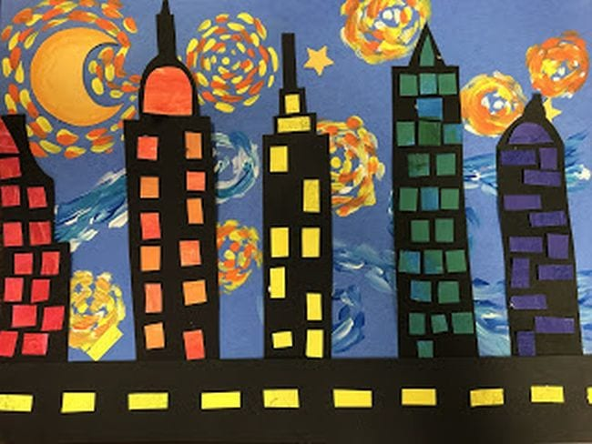 Starry night sky in pastels with black construction paper skyscrapers in front (Third Grade Art Projects)