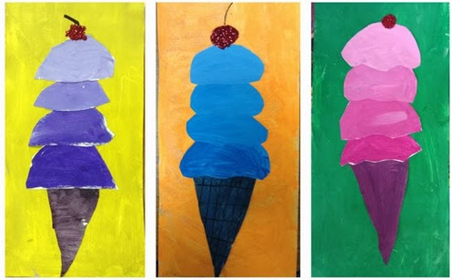 Painted ice cream cones with each scoop a different shade of a single color (Third Grade Art Projects)