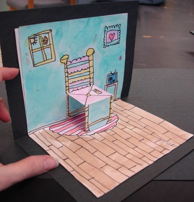 Open card with pop up chair in the style of Van Gogh (Third Grade Art Projects)