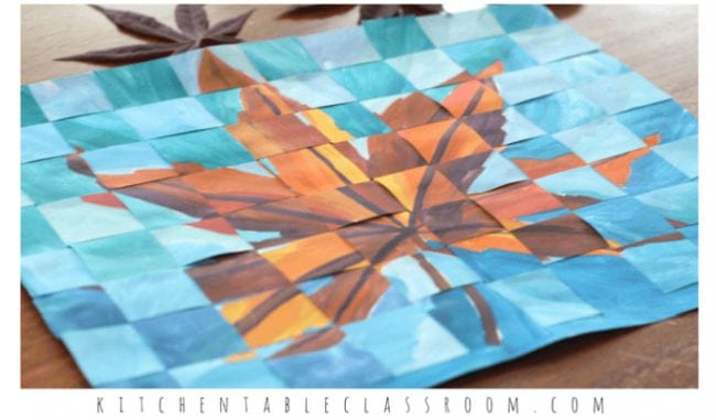 Two similar paintings of an autumn leaf cut into strips and woven together (Third Grade Art Projects)