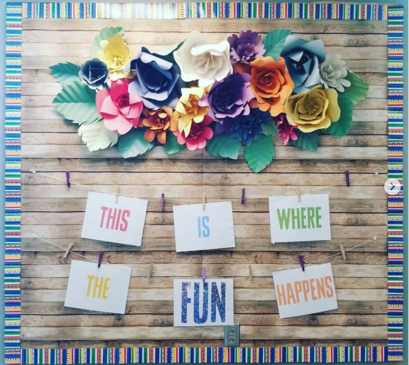 This is where the fun happens back to school bulletin board