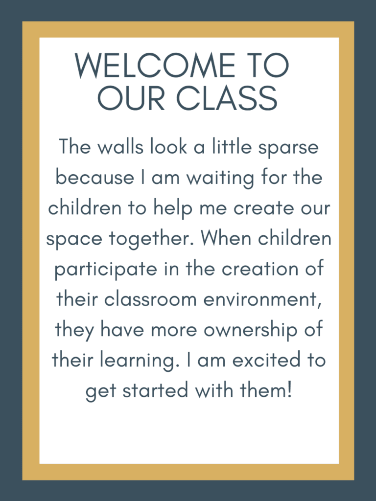 Sign explaining why a classroom is empty at the start of the year
