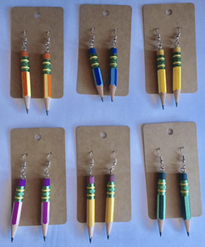 Ticonderoga pencil earrings in different colors