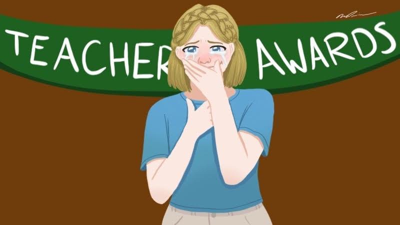 "Crying teacher in front of ""Teacher Awards"" banner"