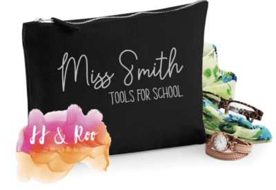 """cute pencil pouch with """"Tools for school"""" with name personalization in black"""