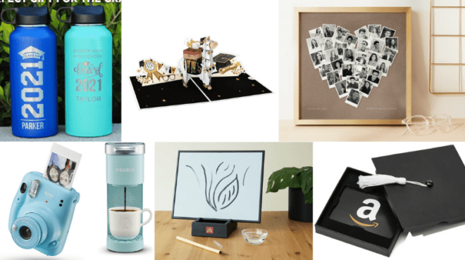 Collage of the top graduation gifts for students for 2021