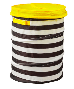 Black and white striped soft organization bin with yellow top