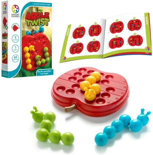 Apple Twist logic game with apple game board, caterpillar pieces, and puzzle book