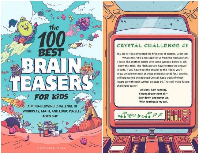100 Best Brainteasers for Kids book with page showing crystal code challenge