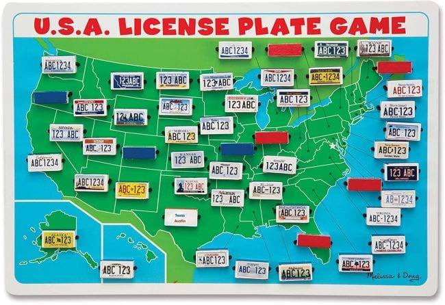 USA License Plate Game board with flippable state license plates (Travel Games for Kids)