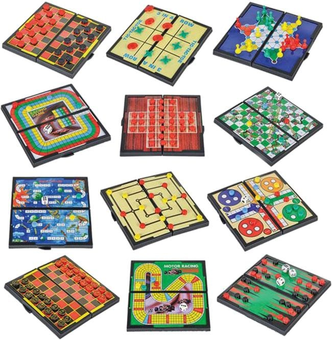 Magnetic travel games for kids like checkers, chess, ludo, and more