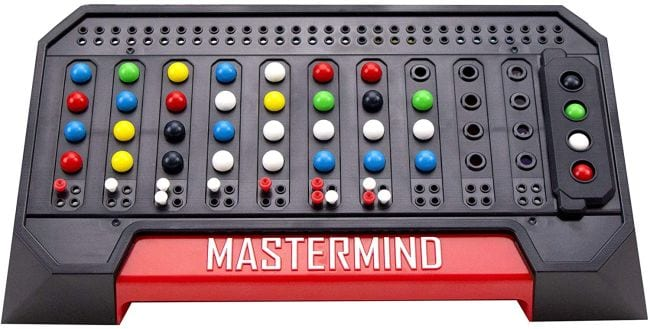 Mastermind code-cracking game board with colorful orbs and pegs
