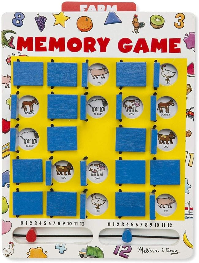 Memory Game board with flippable panels covering images