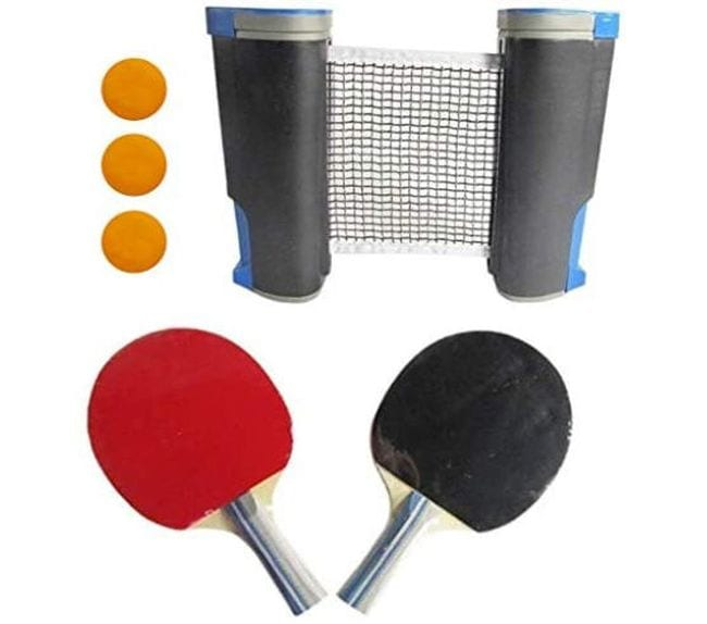 Travel ping pong set with retractable net, paddles, and balls (Travel Games for Kids)