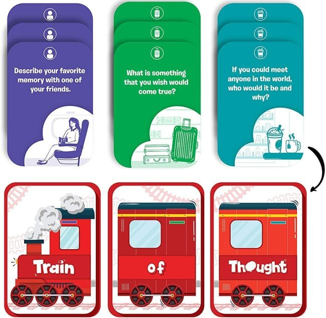 """Train of Thought cards with questions like """"If you could meet anyone in the world, who would it be and why?"""""""