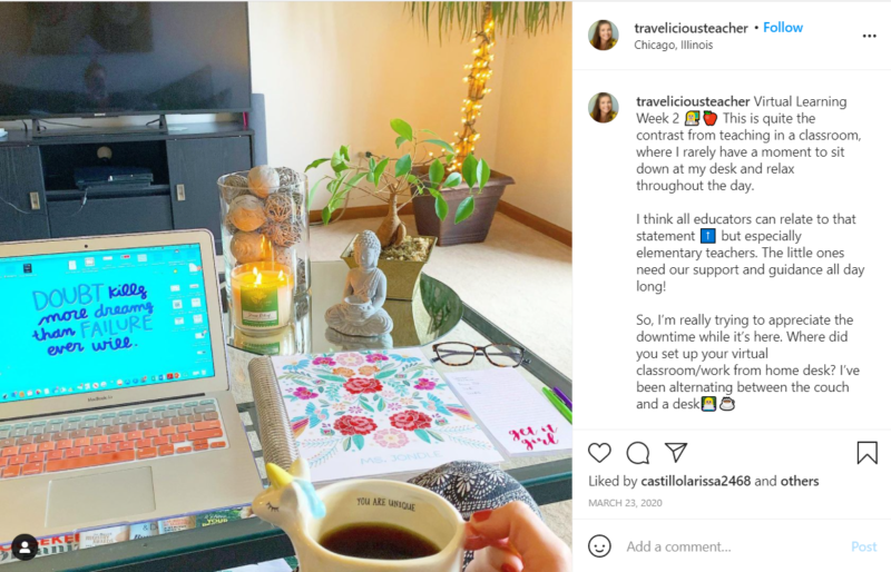 Still of laptop on desk traveliciousteacher Instagram post