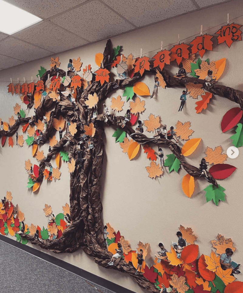 Tree with falling leaves fall bulletin boards