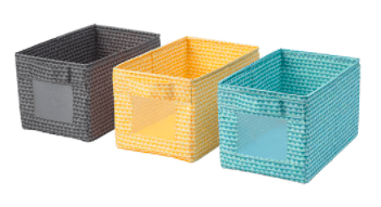 Three storage cubes in grey, yellow, and blue