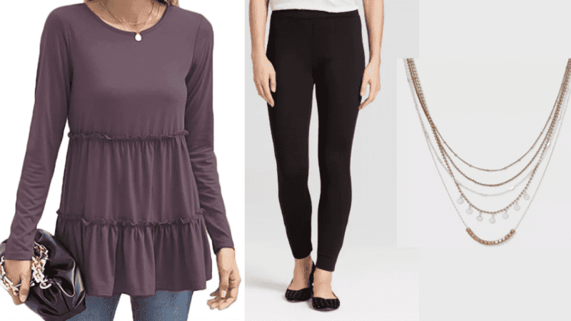 purple tunic and black leggings with layer necklace outfit