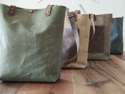 waxed canvas tote from Etsy