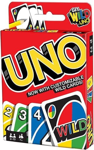 Box for UNO card game showing sample color and number cards and a wild card