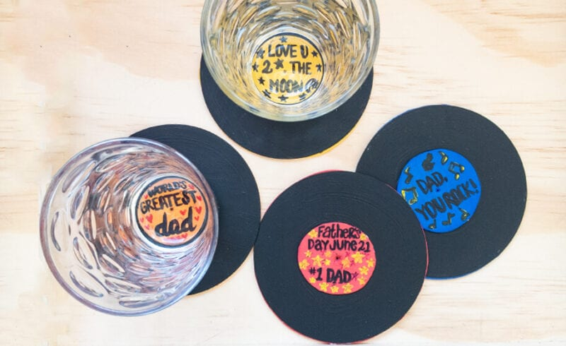 Record coasters -- father's day crafts for kids