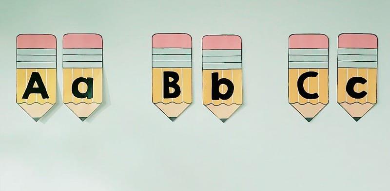 Alphabet bulletin board planners.