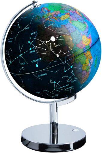 USA Toyz LED Illuminated Globe shown half lit with constellations on left side